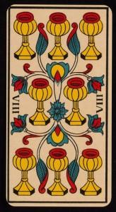 [Figure 5 : 8 de Coupes – Ancien tarot de Marseille – B. P. Grimaud, 1930].