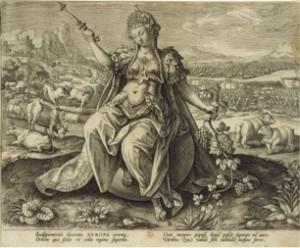 Figure  n°8 Martin DE VOS, Adriaen COLLAERT, Europa, estampe, Anvers, vers 1589, dim. 206 x 257 mm, collection privée.