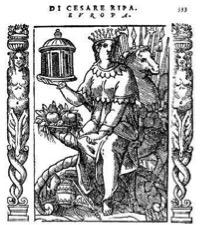 Figure  n°9 Artiste Anonyme, Europa, gravure sur bois tirée de Cesare RIPA, Iconologia, Rome, 1603, p. 333, collection privée.