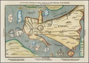 Figure  n°2 Europa Prima Pars Terrae In Forma Virginis, tiré de Heinrich BÜNTING, Itinerarium sacrae scripturae, 1587, gravure sur bois,  dim. 430 x 300 mm, collection privée.