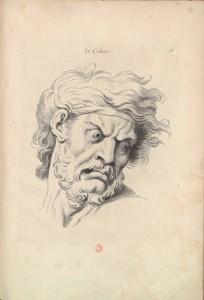 Légende : Charles Le Brun, « La Colère », pierre noire sur papier blanc, Paris, Grand Palais