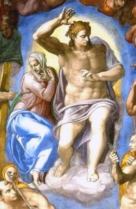 Légende : Michel-Ange, Jugement dernier, Détail, 1535-1541, chapelle Sixtine, Vatican