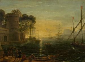 Claude Lorrain (suiveur de) : Port au Coucheur du Soleil.