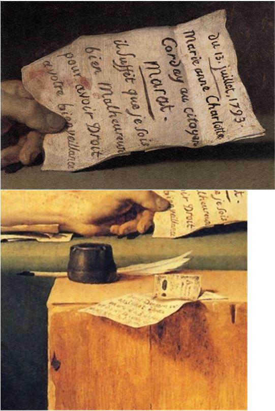 Planche 1 détail La mort de Marat - David